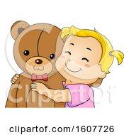 Kid Toddler Girl Hug Teddy Bear Illustration