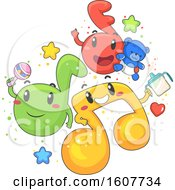 Poster, Art Print Of Music Notes Mascot Toddler Illustration