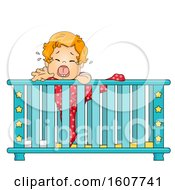 Kid Toddler Boy Crib Climb Cry Illustration
