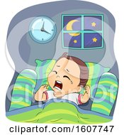 Kid Toddler Boy Night Waking Up Illustration