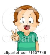 Kid Toddler Boy Peace Sign Illustration