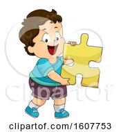 Poster, Art Print Of Kid Toddler Boy Puzzle Piece Illustration