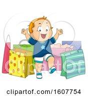 Kid Toddler Boy Shopping Bags Illustration