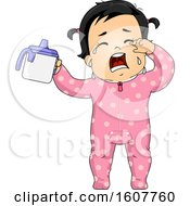 Kid Toddler Girl Crying Sippy Cup Illustration