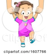 Kid Toddler Girl Walk Assist Illustration