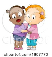 Poster, Art Print Of Kids Toddler Girls Hug Illustration