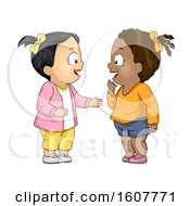 Poster, Art Print Of Kids Toddler Girls Talking Illustration