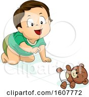 Kid Toddler Boy Crawl Teddy Bear Illustration