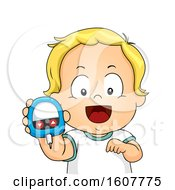 Kid Toddler Boy Blood Glucose Meter Illustration