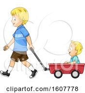 Siblings And Red Wagon