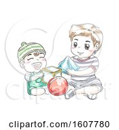 Kids Boy Toddler Play Shapes Brotherly Duty