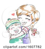 Kids Girl Toddler Hug Sisterly Duty Illustration