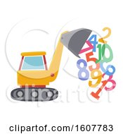 Poster, Art Print Of Bulldozer Numbers Illustration