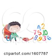 Kid Boy Trash Collect Numbers Illustration