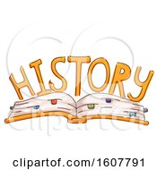 Open Book History Lettering Illustration