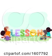 Stickman Kids Lesson Lettering Illustration