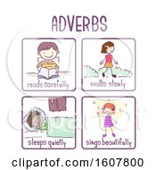 Stickman Kids Adverb Samples Illustration