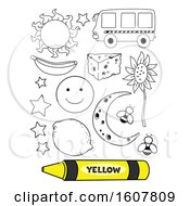 Poster, Art Print Of Color Yellow Coloring Book Illustration