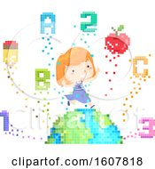 Kid Girl Education Earth Pixels Illustration