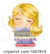 Kid Girl Sleep Books Illustration