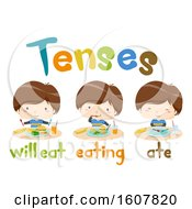 Kids Boy Eat Tenses Lesson Illustration