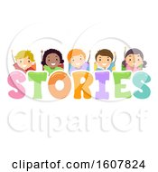 Stickman Kids Stories Lettering Illustration