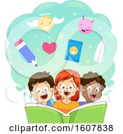 Kids Read Fable Book Lesson Illustration