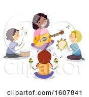 Stickman Kids Teacher Play Music Circle