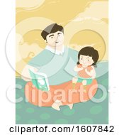 Dad Read Book Kid Girl Illustration