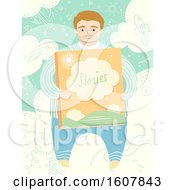 Father Hold Big Story Book Illustration