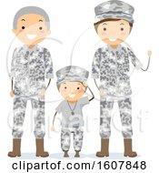 Poster, Art Print Of Stickman Military Grandpa Father Son Illustration
