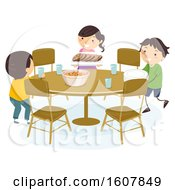 Stickman Kids Set Table Illustration