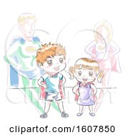 Kids Super Heroes Play Illustration