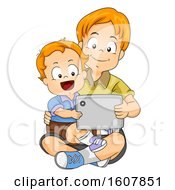 Kids Boy Baby Sit Brother Tablet Illustration