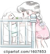 Poster, Art Print Of Kids Girl Baby Crib Sister Illustration