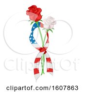 Rose Ribbon Flag Memorial Day Illustration