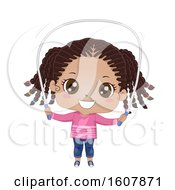 Kid Girl Black Jumping Rope Illustration