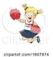 Kid Girl Cheerleader Jump Illustration