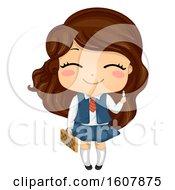 Kid Girl Chess Player Illustration