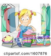 Kid Girl Choose Clothes Messy Illustration