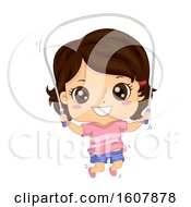 Kid Girl Jumping Rope Illustration