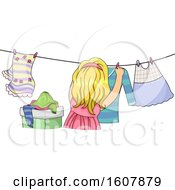 Kid Girl Life Skill Hanging Dress Illustration