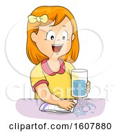 Kid Girl Life Skills Wipe Spills Illustration