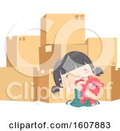Kid Girl Pack Moving Cry Illustration