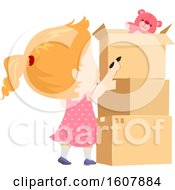Kid Girl Pack Moving Label Illustration