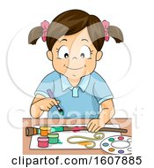Kid Girl Paint Journey Stick Illustration