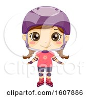 Kid Girl Pose Roller Blades Illustration