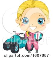 Kid Girl Quad Bike Illustration