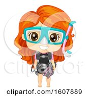 Kid Girl Scuba Dive Illustration