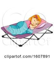 Kid Girl Sleep Camping Bed Illustration